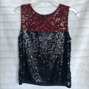 J Crew Collection Sequin Colorblock Tank